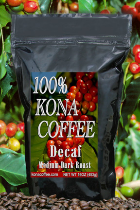100% Pure Kona decaffeinated coffee
