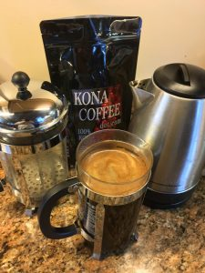 Kona Coffee in a french press